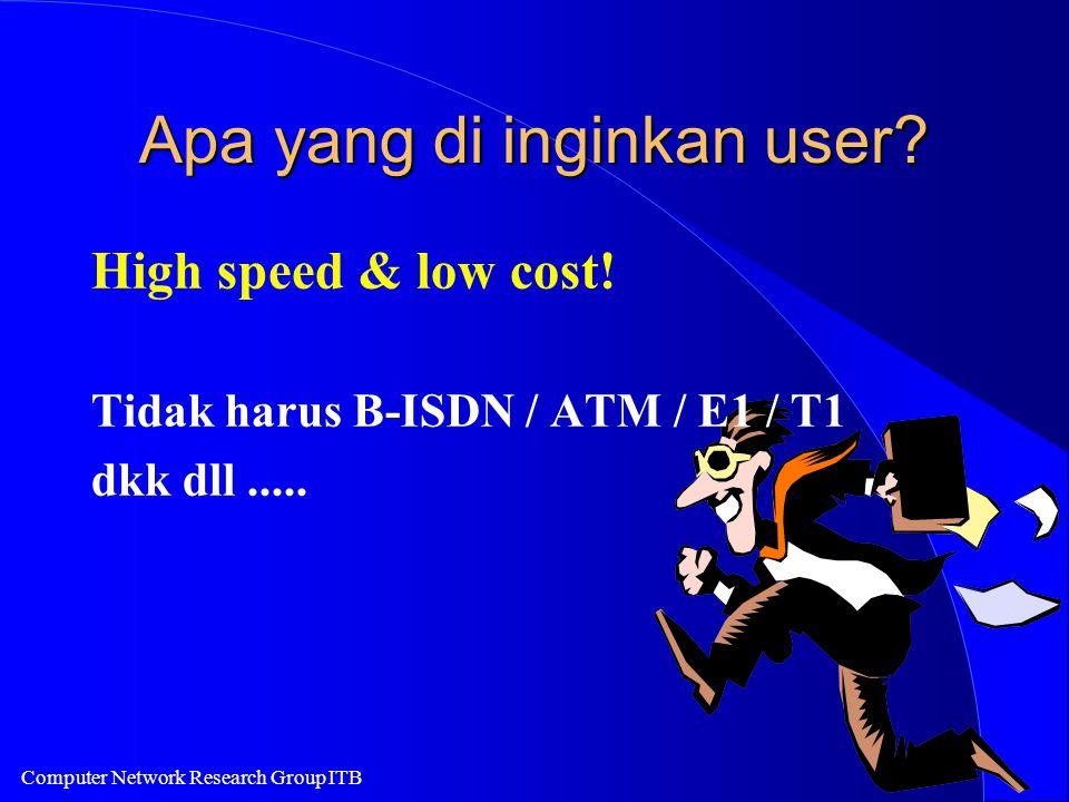 Computer Network Research Group ITB Apa yang di inginkan user? High speed & low cost! Tidak harus B-ISDN / ATM / E1 / T1 dkk dll.....