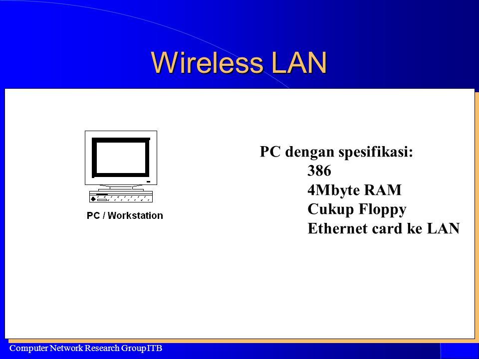 Computer Network Research Group ITB Wireless LAN PC dengan spesifikasi: 386 4Mbyte RAM Cukup Floppy Ethernet card ke LAN