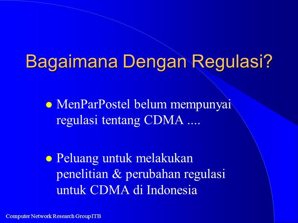 Computer Network Research Group ITB Bagaimana Dengan Regulasi? l MenParPostel belum mempunyai regulasi tentang CDMA.... l Peluang untuk melakukan pene