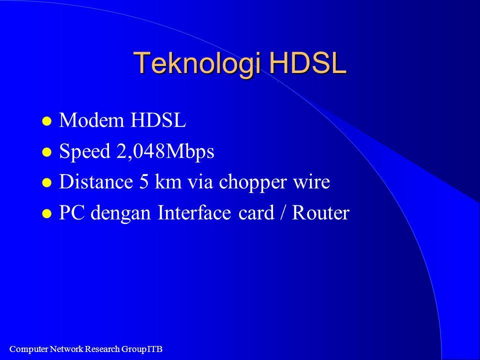 Computer Network Research Group ITB Teknologi HDSL l Modem HDSL l Speed 2,048Mbps l Distance 5 km via chopper wire l PC dengan Interface card / Router
