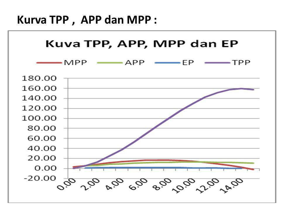 Kurva TPP, APP dan MPP :