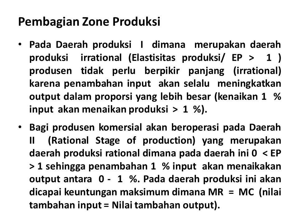 Pembagian Zone Produksi Pada Daerah produksi I dimana merupakan daerah produksi irrational (Elastisitas produksi/ EP > 1 ) produsen tidak perlu berpik