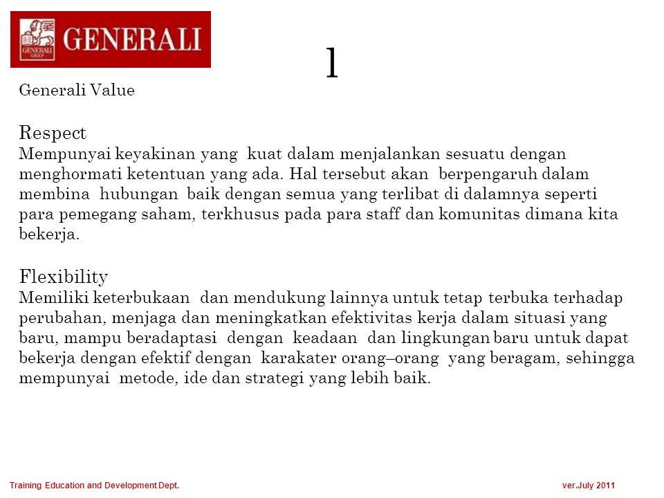 l Generali Value Respect Mempunyai keyakinan yang kuat dalam menjalankan sesuatu dengan menghormati ketentuan yang ada. Hal tersebut akan berpengaruh
