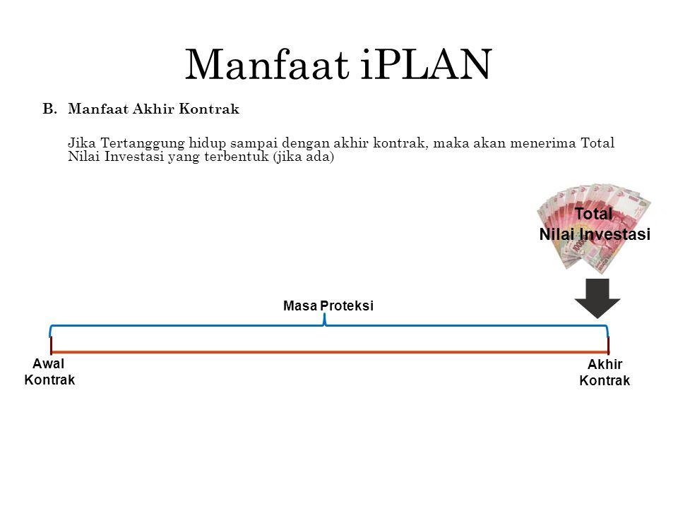 Manfaat iPLAN B.Manfaat Akhir Kontrak Jika Tertanggung hidup sampai dengan akhir kontrak, maka akan menerima Total Nilai Investasi yang terbentuk (jik