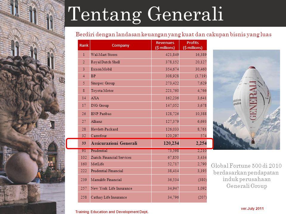 Tentang Generali Berdiri dengan landasan keuangan yang kuat dan cakupan bisnis yang luas Global Fortune 500 di 2010 berdasarkan pendapatan induk perus
