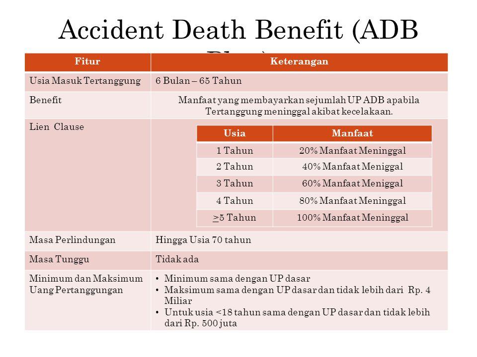 Accident Death Benefit (ADB Plan) FiturKeterangan Usia Masuk Tertanggung6 Bulan – 65 Tahun BenefitManfaat yang membayarkan sejumlah UP ADB apabila Ter