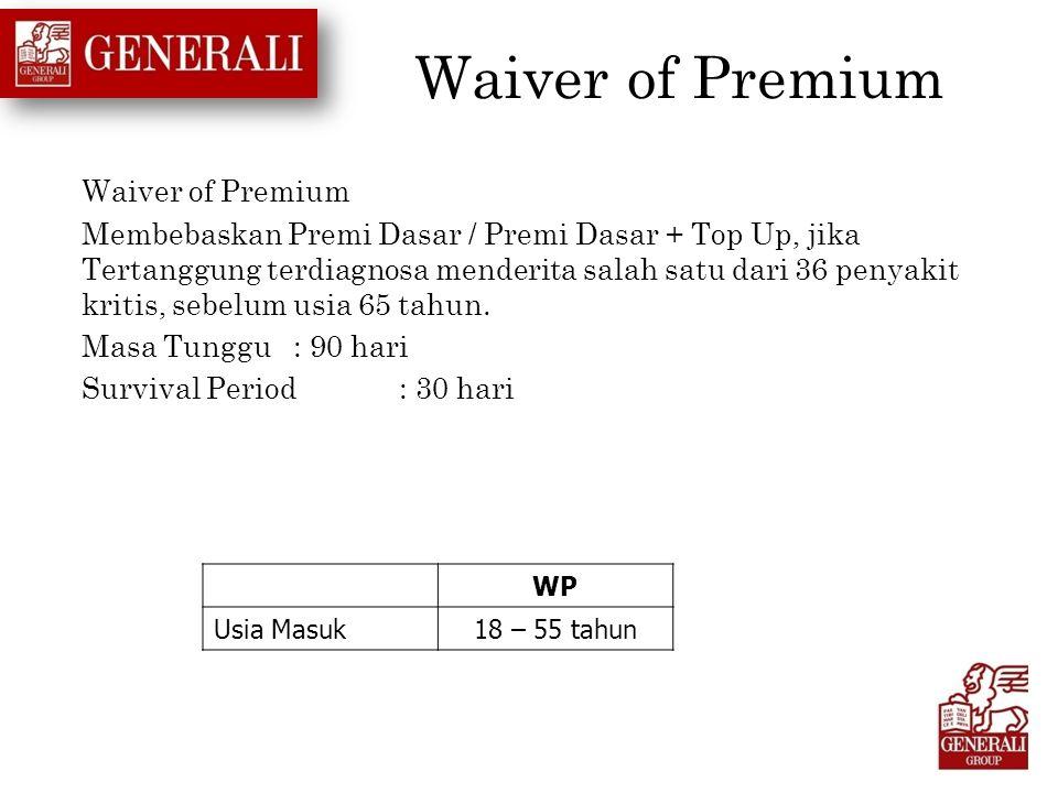Waiver of Premium Membebaskan Premi Dasar / Premi Dasar + Top Up, jika Tertanggung terdiagnosa menderita salah satu dari 36 penyakit kritis, sebelum u