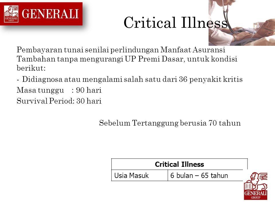 Critical Illness Pembayaran tunai senilai perlindungan Manfaat Asuransi Tambahan tanpa mengurangi UP Premi Dasar, untuk kondisi berikut: -Didiagnosa a