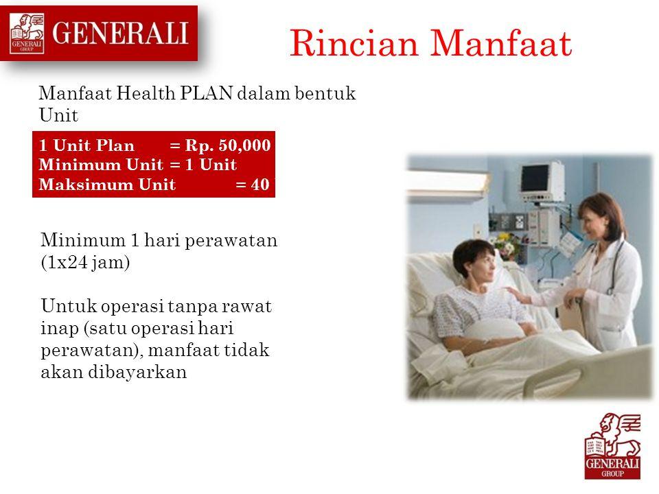 Rincian Manfaat Manfaat Health PLAN dalam bentuk Unit Minimum 1 hari perawatan (1x24 jam) Untuk operasi tanpa rawat inap (satu operasi hari perawatan)