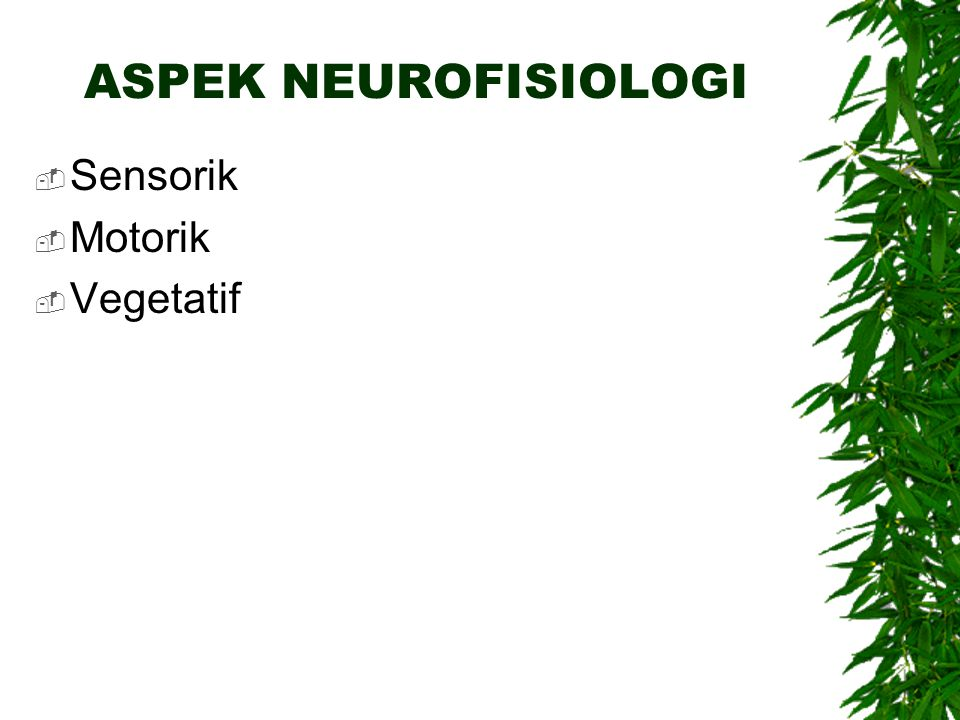 ASPEK NEUROFISIOLOGI  Sensorik  Motorik  Vegetatif
