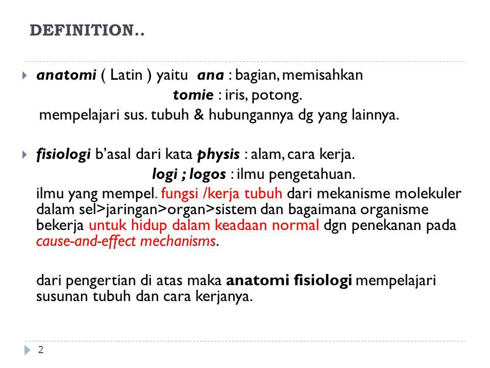 DEFINITION.. 2  anatomi ( Latin ) yaitu ana : bagian, memisahkan tomie : iris, potong. mempelajari sus. tubuh & hubungannya dg yang lainnya.  fisiol