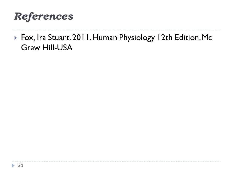 References 31 FFox, Ira Stuart. 2011. Human Physiology 12th Edition. Mc Graw Hill-USA