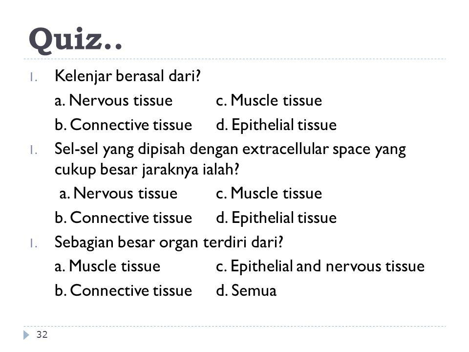 Quiz.. 32 1. Kelenjar berasal dari? a. Nervous tissuec. Muscle tissue b. Connective tissued. Epithelial tissue 1. Sel-sel yang dipisah dengan extracel