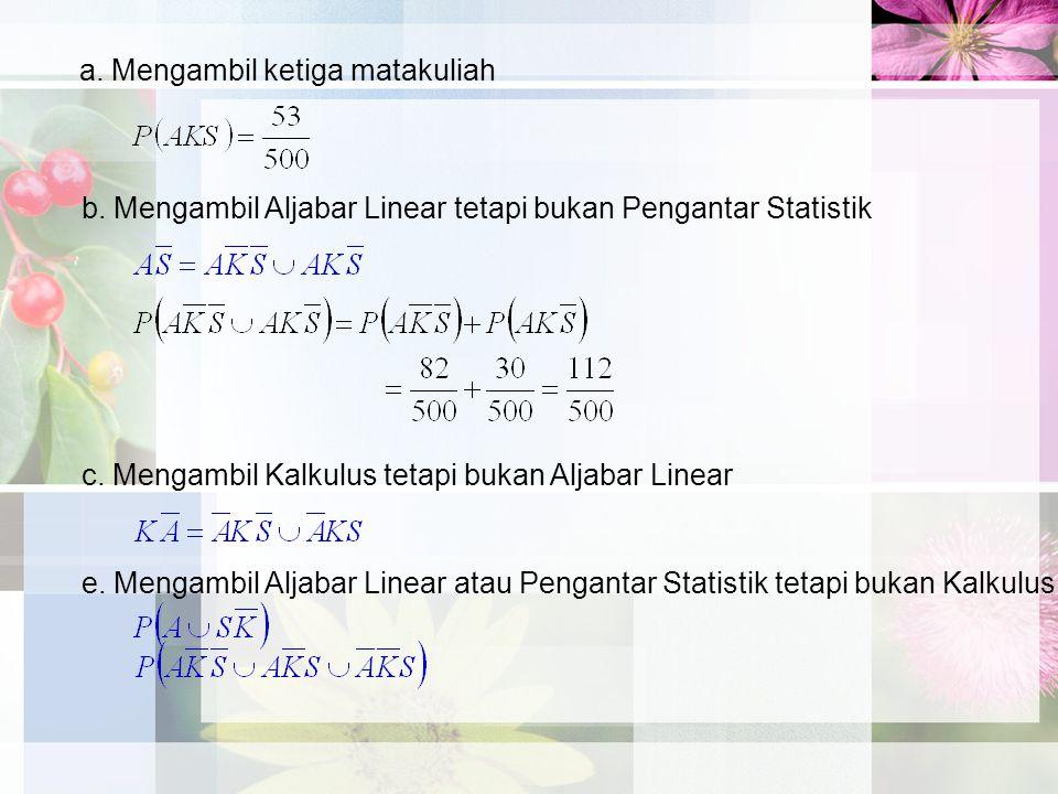 a. Mengambil ketiga matakuliah b. Mengambil Aljabar Linear tetapi bukan Pengantar Statistik c. Mengambil Kalkulus tetapi bukan Aljabar Linear e. Menga