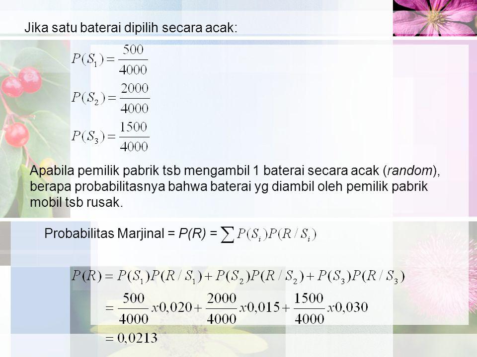 Probabilitas Marjinal = P(R) = Jika satu baterai dipilih secara acak: Apabila pemilik pabrik tsb mengambil 1 baterai secara acak (random), berapa prob