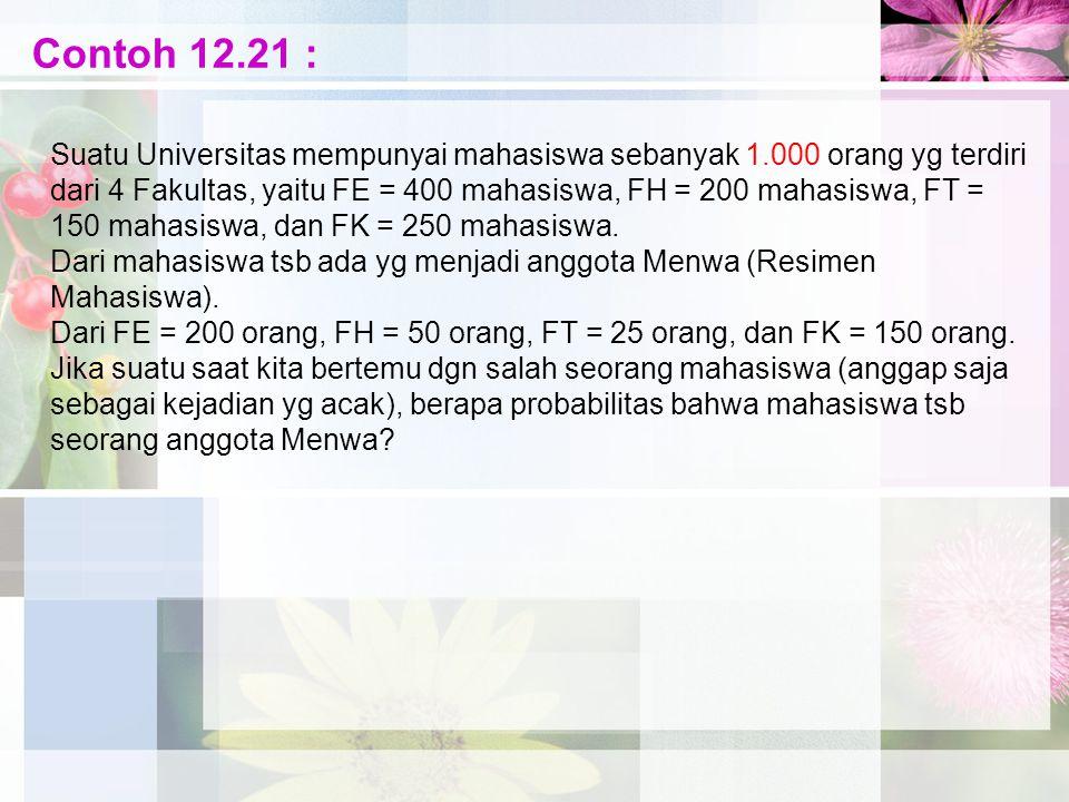 Contoh 12.21 : Suatu Universitas mempunyai mahasiswa sebanyak 1.000 orang yg terdiri dari 4 Fakultas, yaitu FE = 400 mahasiswa, FH = 200 mahasiswa, FT