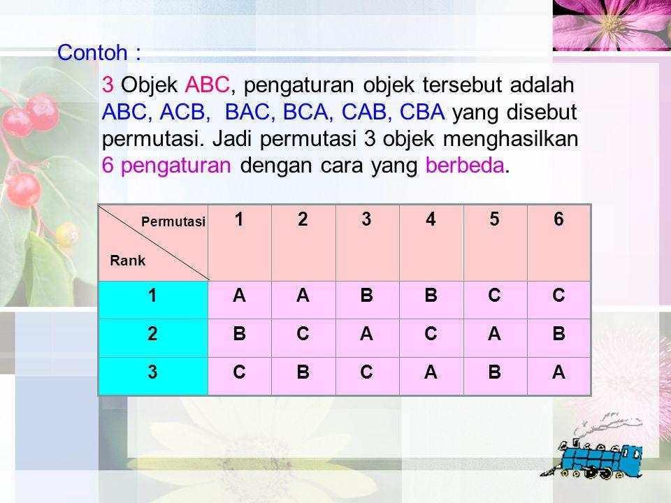 Contoh : 3 Objek ABC, pengaturan objek tersebut adalah ABC, ACB, BAC, BCA, CAB, CBA yang disebut permutasi. Jadi permutasi 3 objek menghasilkan 6 peng