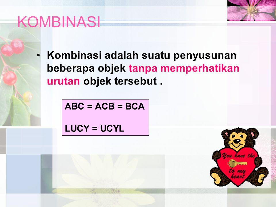 KOMBINASI Kombinasi adalah suatu penyusunan beberapa objek tanpa memperhatikan urutan objek tersebut. ABC = ACB = BCA LUCY = UCYL