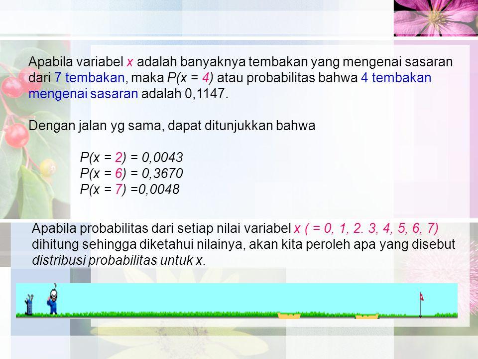 Apabila variabel x adalah banyaknya tembakan yang mengenai sasaran dari 7 tembakan, maka P(x = 4) atau probabilitas bahwa 4 tembakan mengenai sasaran