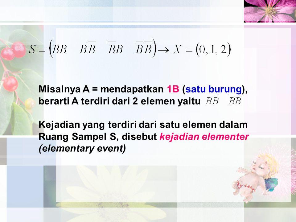 Misalnya A = mendapatkan 1B (satu burung), berarti A terdiri dari 2 elemen yaitu Kejadian yang terdiri dari satu elemen dalam Ruang Sampel S, disebut