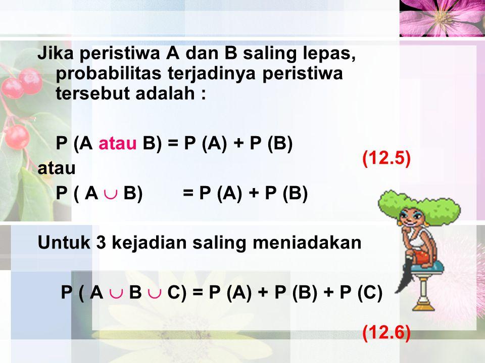 Jika peristiwa A dan B saling lepas, probabilitas terjadinya peristiwa tersebut adalah : P (A atau B) = P (A) + P (B) atau P ( A  B) = P (A) + P (B)