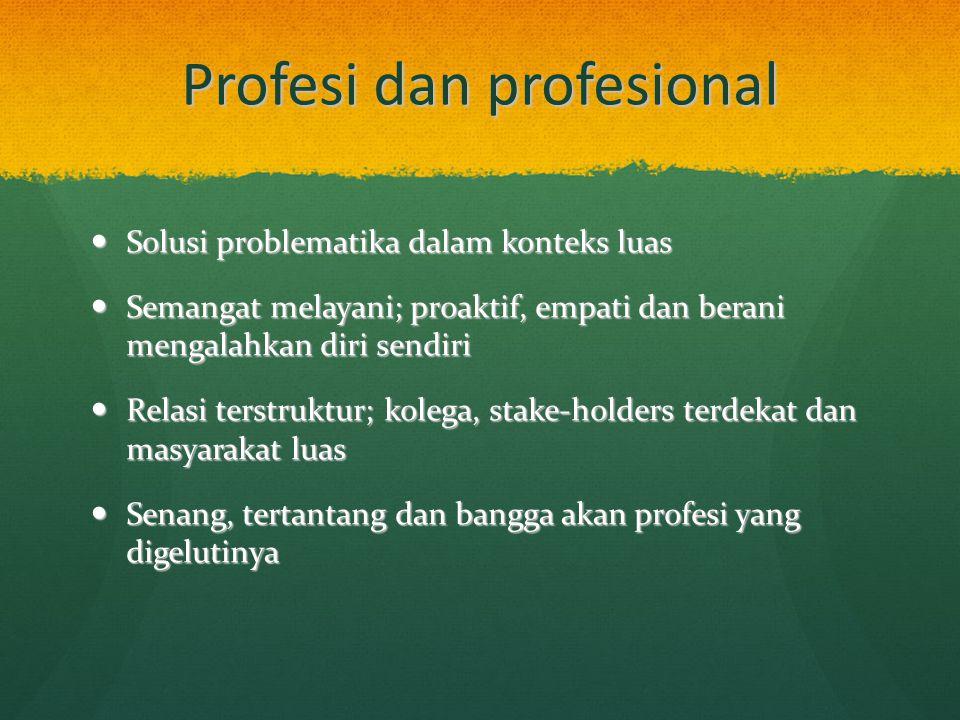 Profesi dan profesional Solusi problematika dalam konteks luas Solusi problematika dalam konteks luas Semangat melayani; proaktif, empati dan berani m