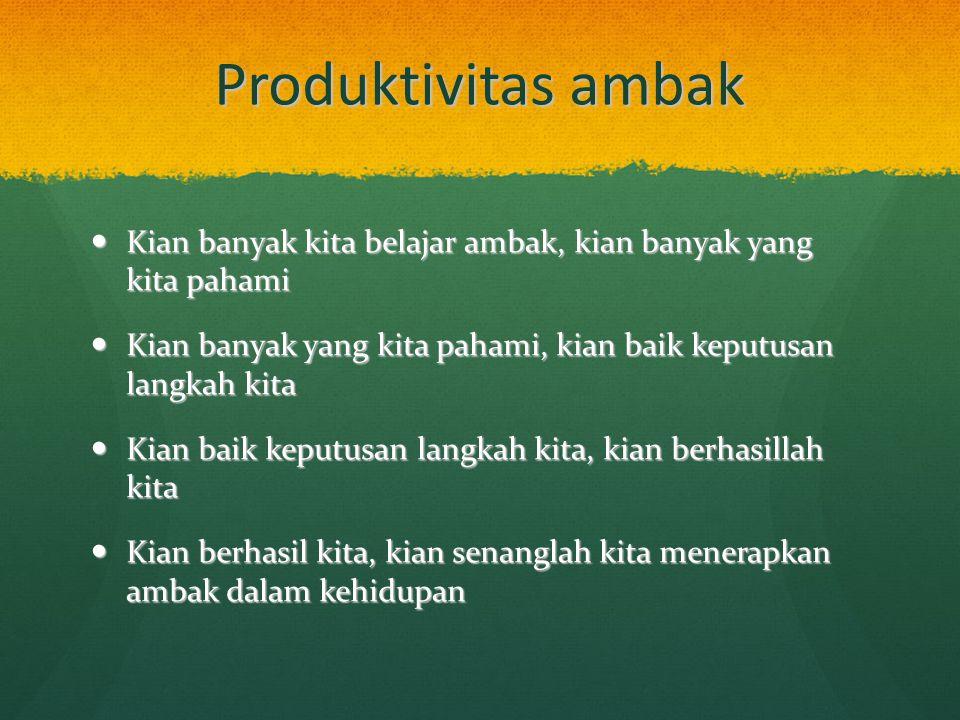 Produktivitas ambak Kian banyak kita belajar ambak, kian banyak yang kita pahami Kian banyak kita belajar ambak, kian banyak yang kita pahami Kian ban