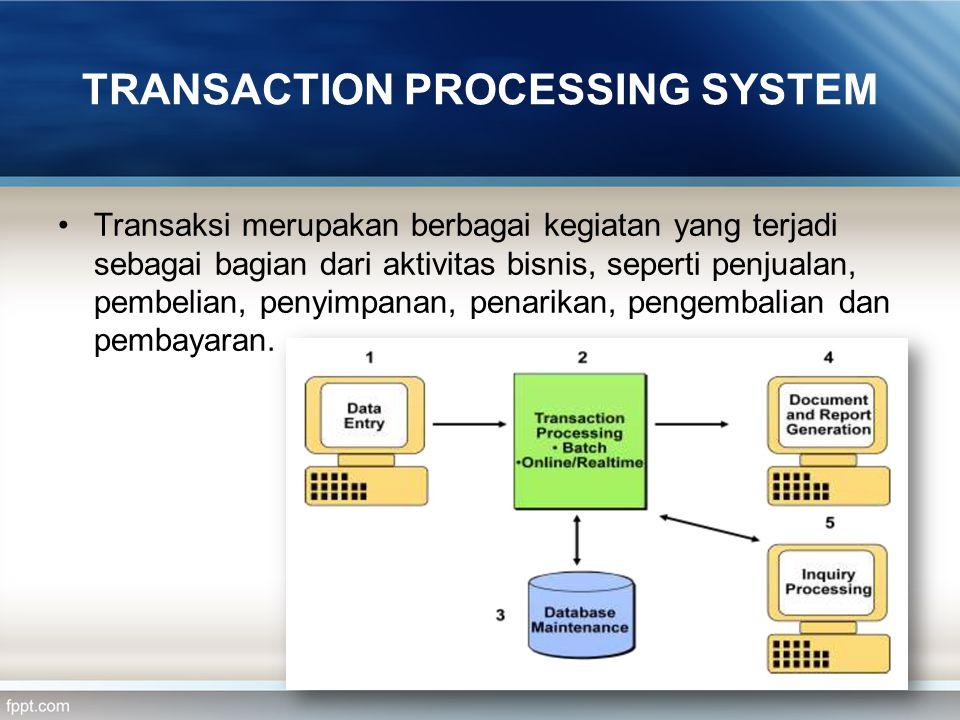 TRANSACTION PROCESSING SYSTEM Transaksi merupakan berbagai kegiatan yang terjadi sebagai bagian dari aktivitas bisnis, seperti penjualan, pembelian, p