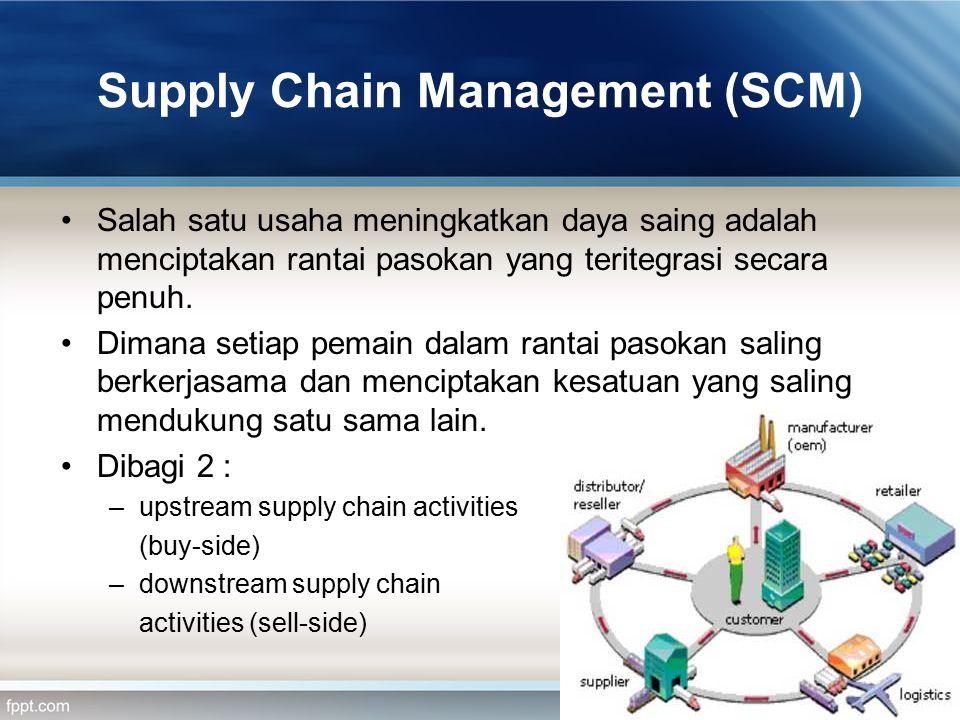 Supply Chain Management (SCM) Salah satu usaha meningkatkan daya saing adalah menciptakan rantai pasokan yang teritegrasi secara penuh. Dimana setiap