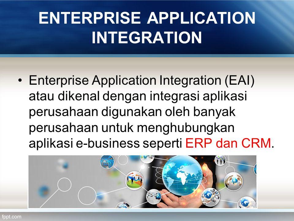 ENTERPRISE APPLICATION INTEGRATION Enterprise Application Integration (EAI) atau dikenal dengan integrasi aplikasi perusahaan digunakan oleh banyak pe