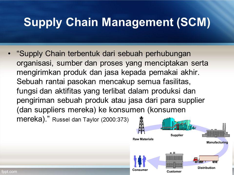 """Supply Chain Management (SCM) """"Supply Chain terbentuk dari sebuah perhubungan organisasi, sumber dan proses yang menciptakan serta mengirimkan produk"""