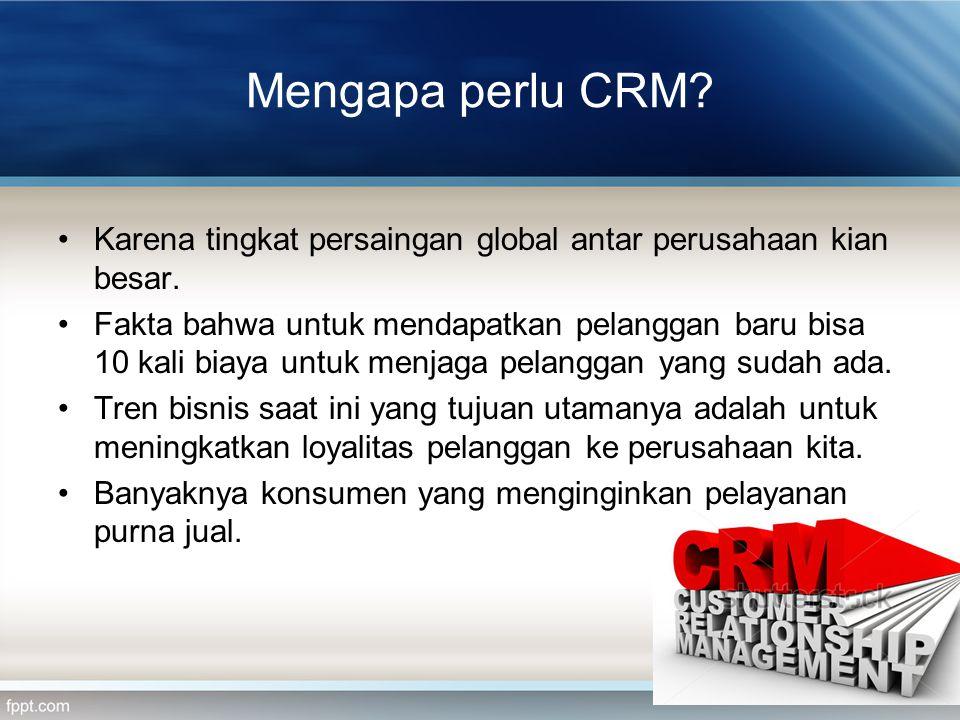 Mengapa perlu CRM? Karena tingkat persaingan global antar perusahaan kian besar. Fakta bahwa untuk mendapatkan pelanggan baru bisa 10 kali biaya untuk