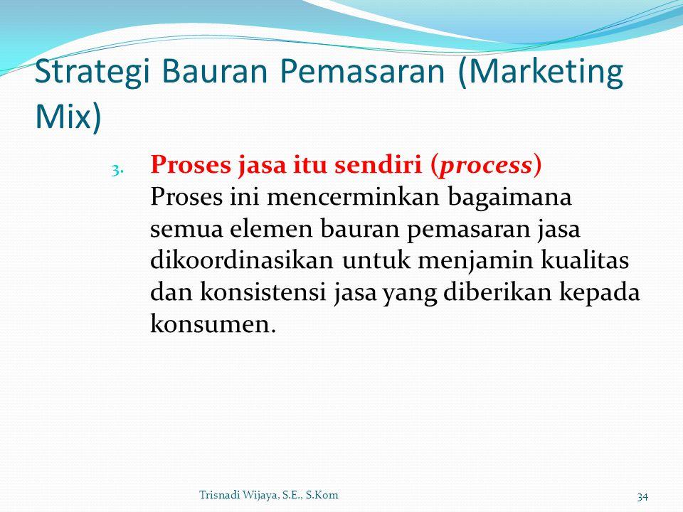 Strategi Bauran Pemasaran (Marketing Mix) 3. Proses jasa itu sendiri (process) Proses ini mencerminkan bagaimana semua elemen bauran pemasaran jasa di