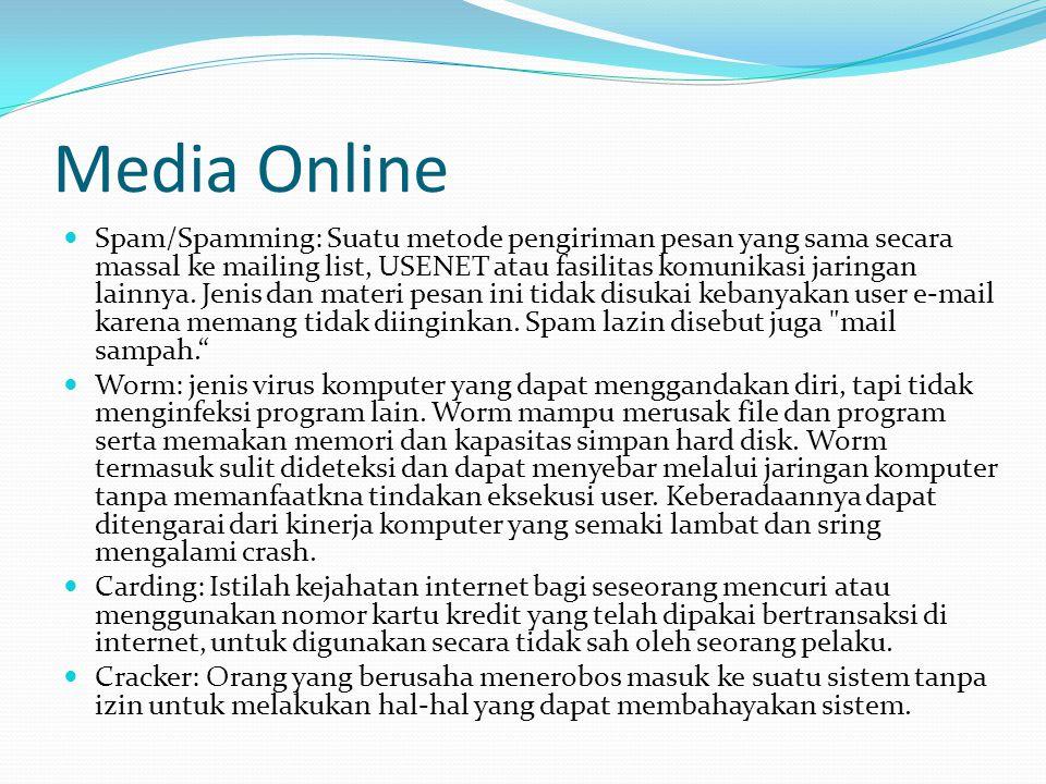 Media Online Spam/Spamming: Suatu metode pengiriman pesan yang sama secara massal ke mailing list, USENET atau fasilitas komunikasi jaringan lainnya.