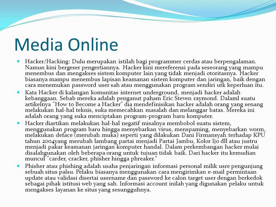 Media Online Hacker/Hacking: Dulu merupakan istilah bagi programmer cerdas atau berpengalaman.