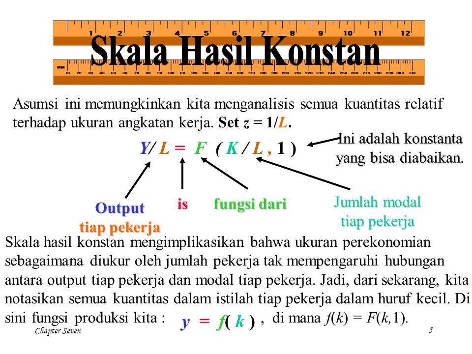 Chapter Seven46 Mulai dengan fungsi produksi sederhana : Y = AK, di mana Y adalah output, K adalah persediaan modal, dan A adalah konstanta yang mengukur jumlah output yang dihasilkan tiap unit modal (perhatikan fungsi produksi ini tidak memiliki pengembalian modal yang kian menurun).