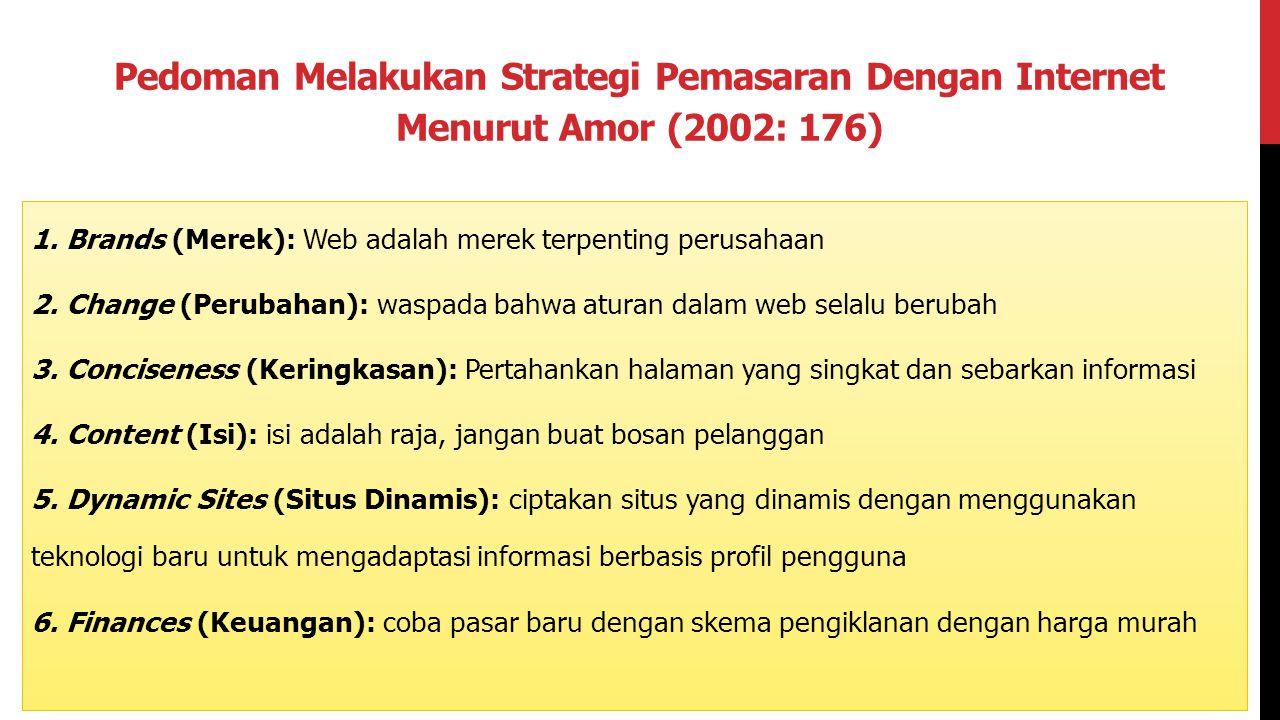 Pedoman Melakukan Strategi Pemasaran Dengan Internet Menurut Amor (2002: 176) 1. Brands (Merek): Web adalah merek terpenting perusahaan 2. Change (Per