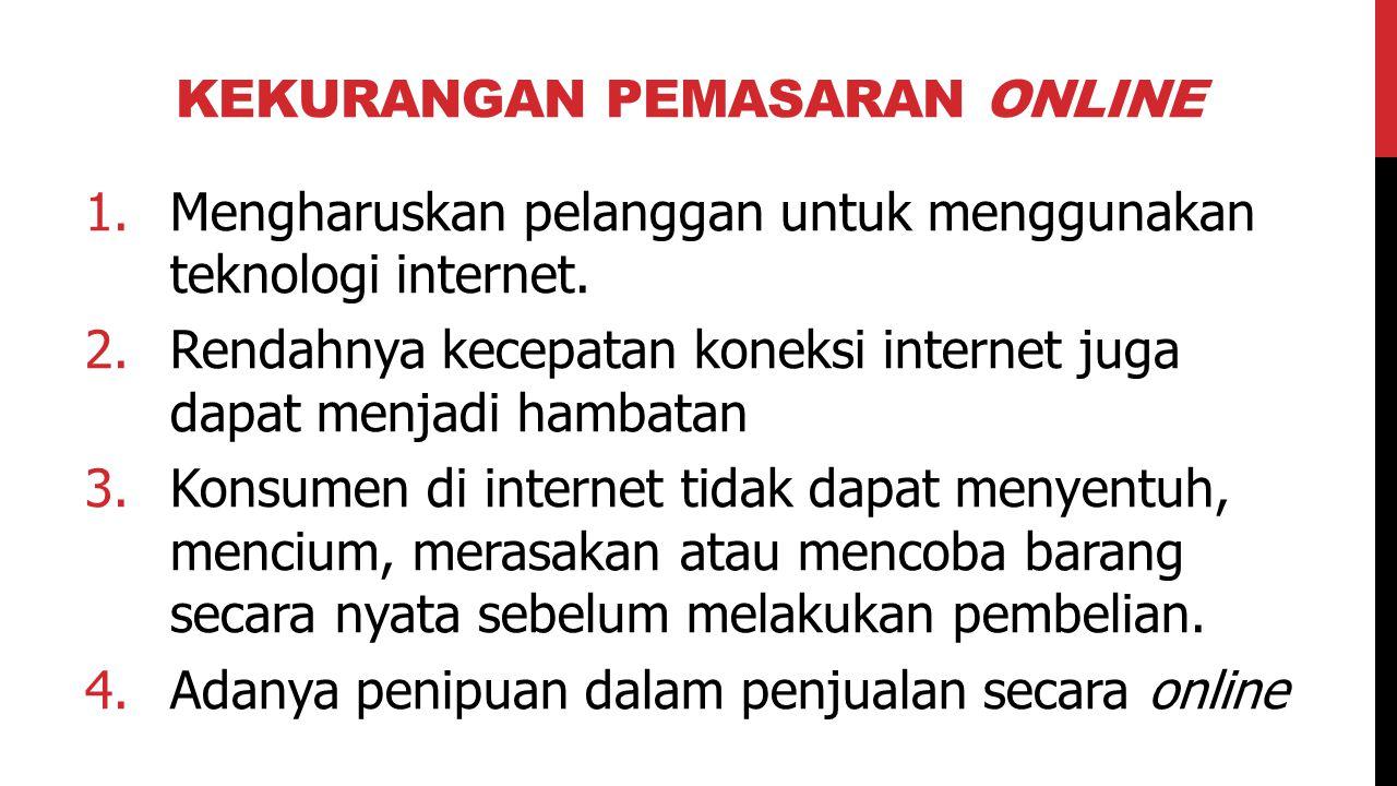 KEKURANGAN PEMASARAN ONLINE 1.Mengharuskan pelanggan untuk menggunakan teknologi internet. 2.Rendahnya kecepatan koneksi internet juga dapat menjadi h