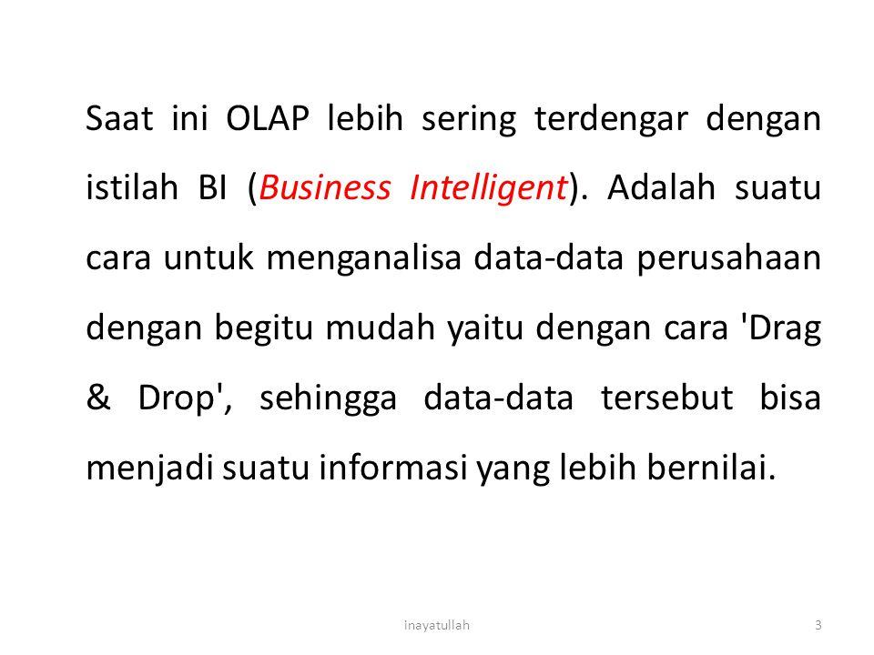 Saat ini OLAP lebih sering terdengar dengan istilah BI (Business Intelligent). Adalah suatu cara untuk menganalisa data-data perusahaan dengan begitu