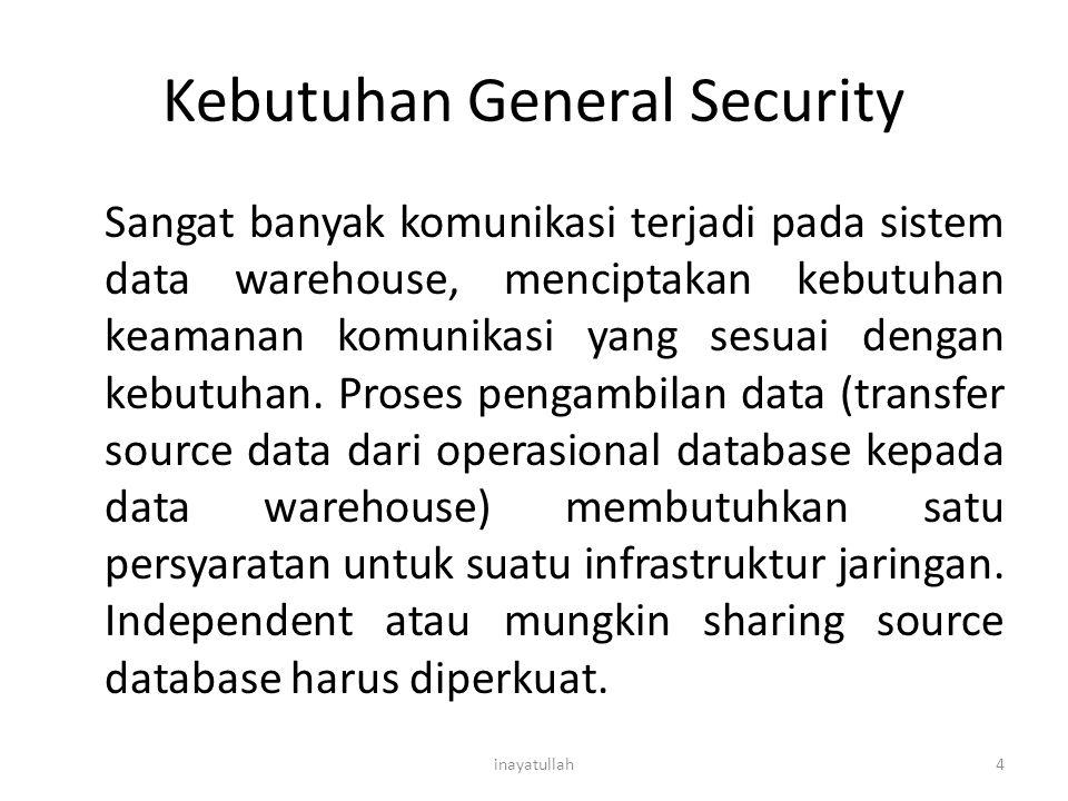 Kebutuhan General Security Sangat banyak komunikasi terjadi pada sistem data warehouse, menciptakan kebutuhan keamanan komunikasi yang sesuai dengan k