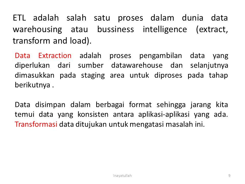 9 ETL adalah salah satu proses dalam dunia data warehousing atau bussiness intelligence (extract, transform and load). Data Extraction adalah proses p