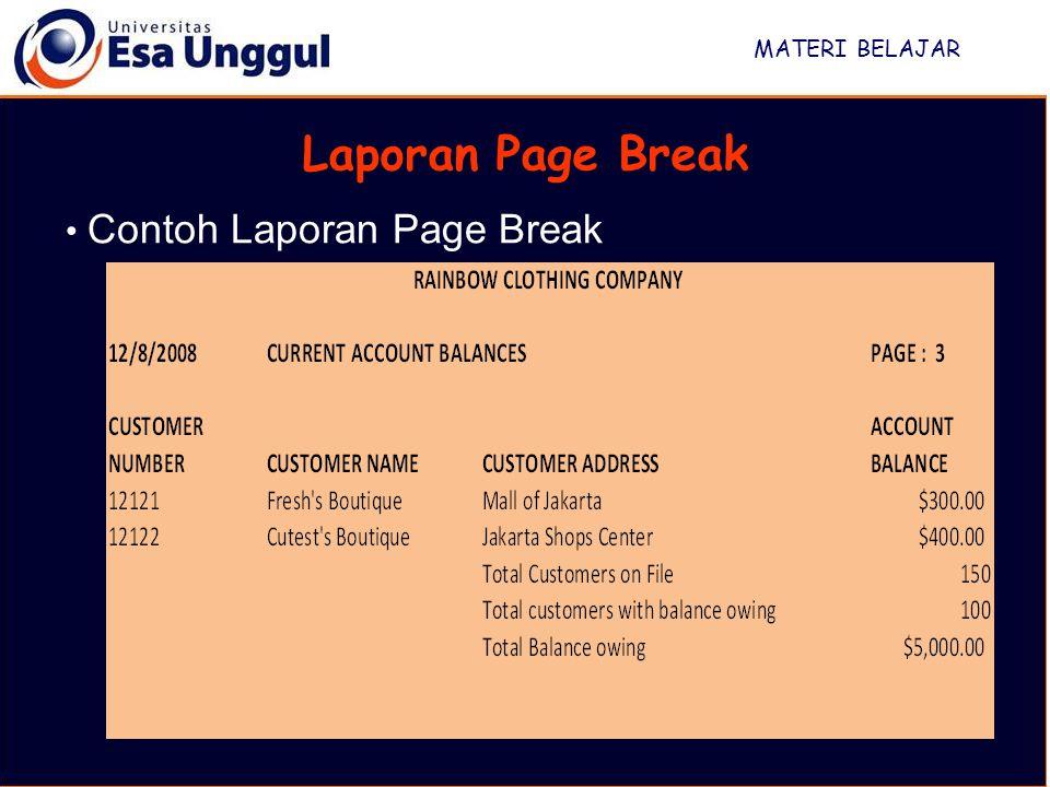 MATERI BELAJAR Laporan Page Break Contoh Laporan Page Break