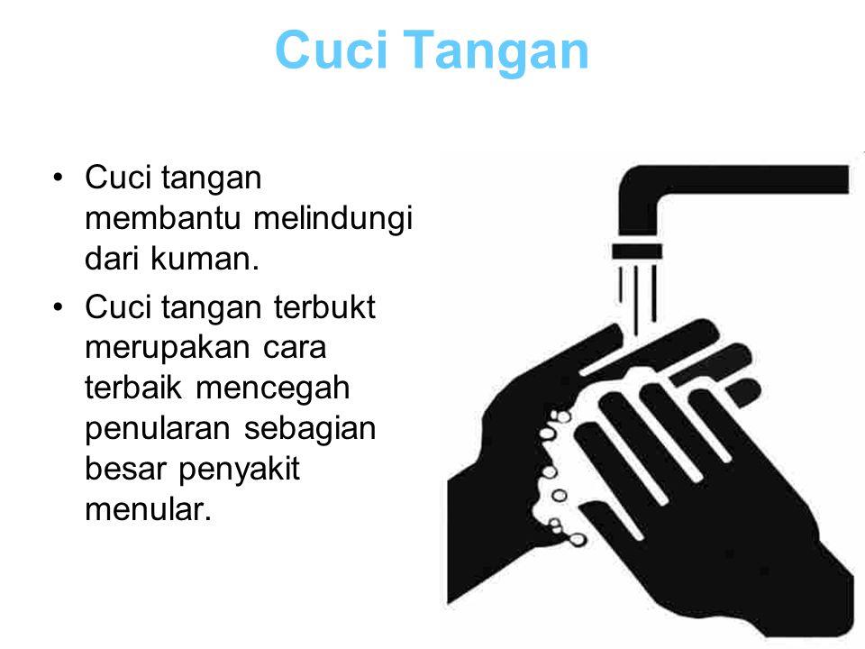 Cuci Tangan Cuci tangan membantu melindungi dari kuman. Cuci tangan terbukt merupakan cara terbaik mencegah penularan sebagian besar penyakit menular.
