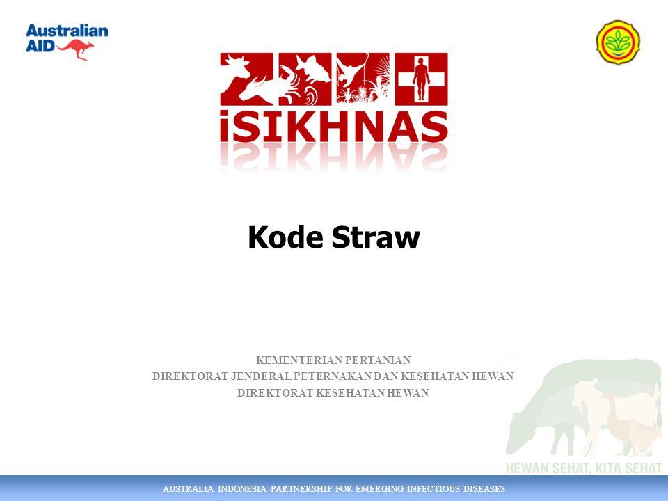AUSTRALIA INDONESIA PARTNERSHIP FOR EMERGING INFECTIOUS DISEASES KEMENTERIAN PERTANIAN DIREKTORAT JENDERAL PETERNAKAN DAN KESEHATAN HEWAN DIREKTORAT KESEHATAN HEWAN Kode Straw