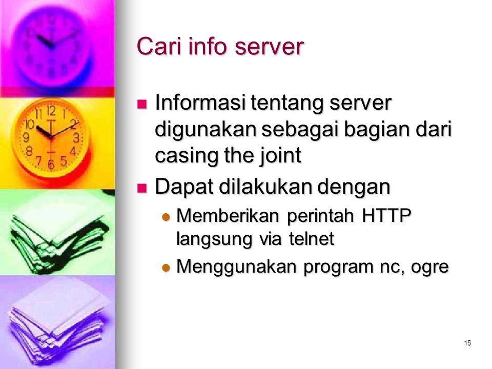 15 Cari info server Informasi tentang server digunakan sebagai bagian dari casing the joint Informasi tentang server digunakan sebagai bagian dari cas