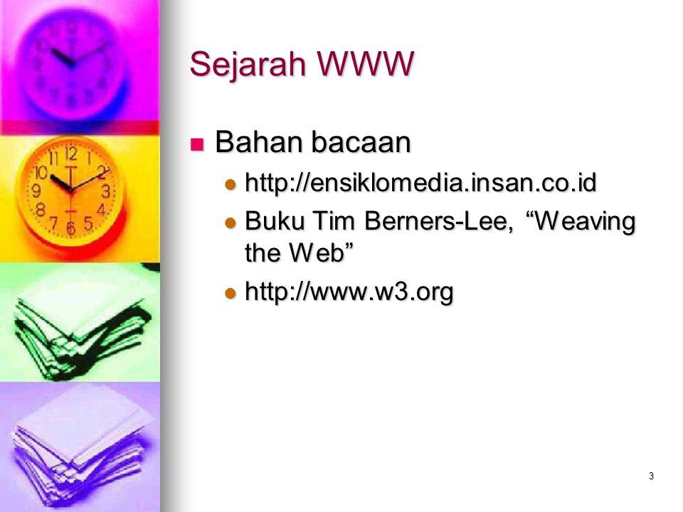 "3 Sejarah WWW Bahan bacaan Bahan bacaan http://ensiklomedia.insan.co.id http://ensiklomedia.insan.co.id Buku Tim Berners-Lee, ""Weaving the Web"" Buku T"