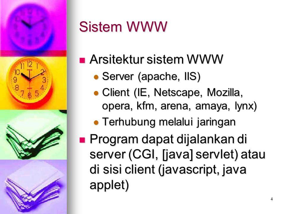4 Sistem WWW Arsitektur sistem WWW Arsitektur sistem WWW Server (apache, IIS) Server (apache, IIS) Client (IE, Netscape, Mozilla, opera, kfm, arena, a