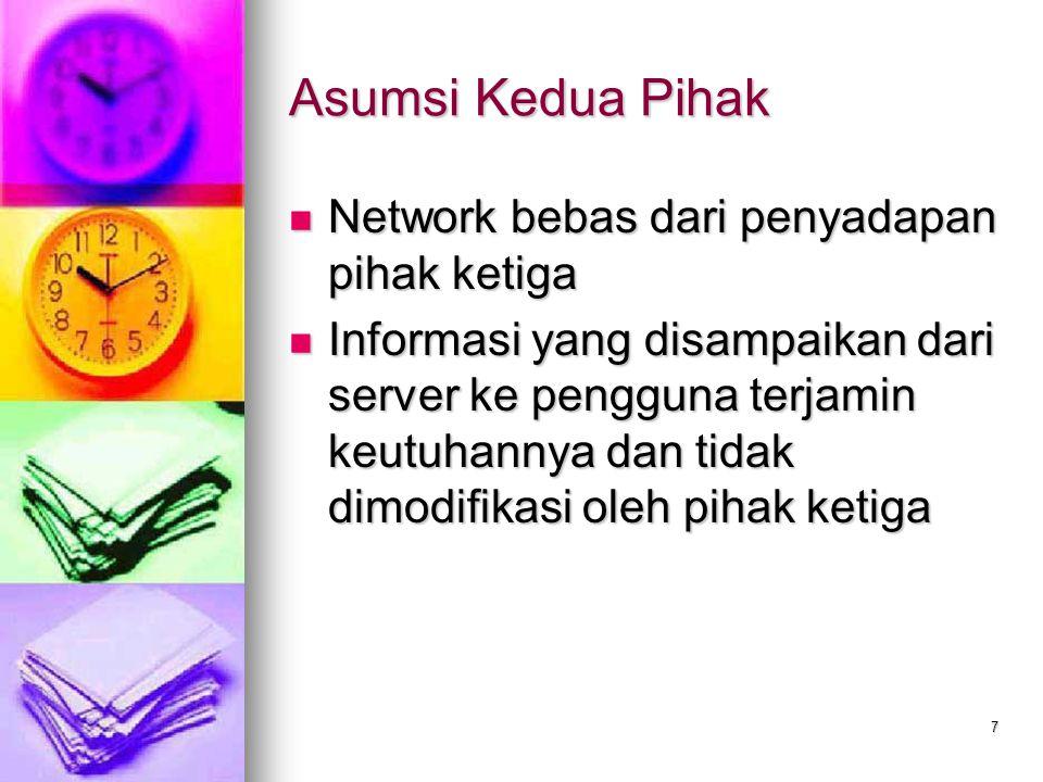 7 Asumsi Kedua Pihak Network bebas dari penyadapan pihak ketiga Network bebas dari penyadapan pihak ketiga Informasi yang disampaikan dari server ke p