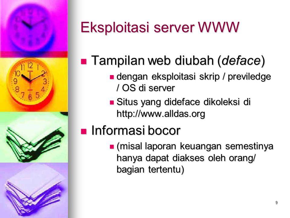 9 Eksploitasi server WWW Tampilan web diubah (deface) Tampilan web diubah (deface) dengan eksploitasi skrip / previledge / OS di server dengan eksploi