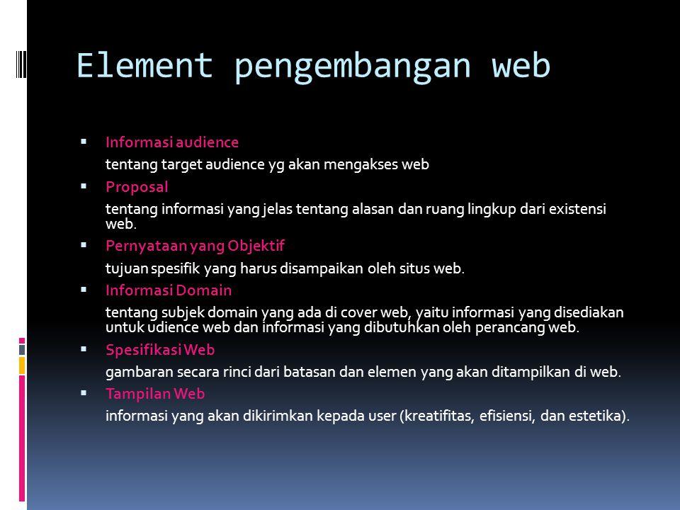 Element pengembangan web  Informasi audience tentang target audience yg akan mengakses web  Proposal tentang informasi yang jelas tentang alasan dan